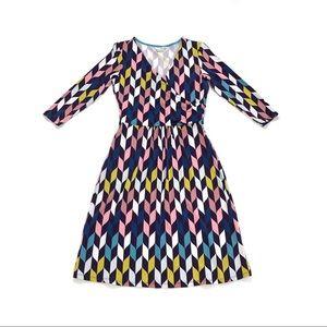 Boden faux wrap dress knit crossover surplice neck